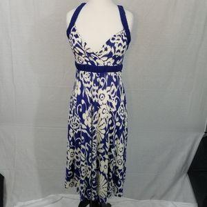 ANTHROPOLOGIE RIC RAC m PRINT DRESS BLUE WHITE